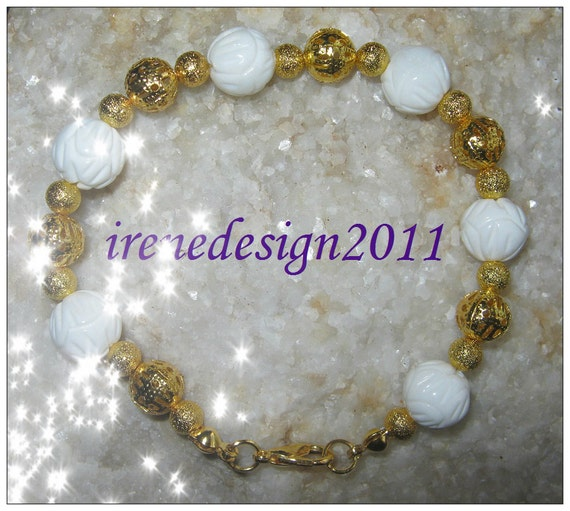Handmade Gold Bracelet with Carved White Coral by IreneDesign2011