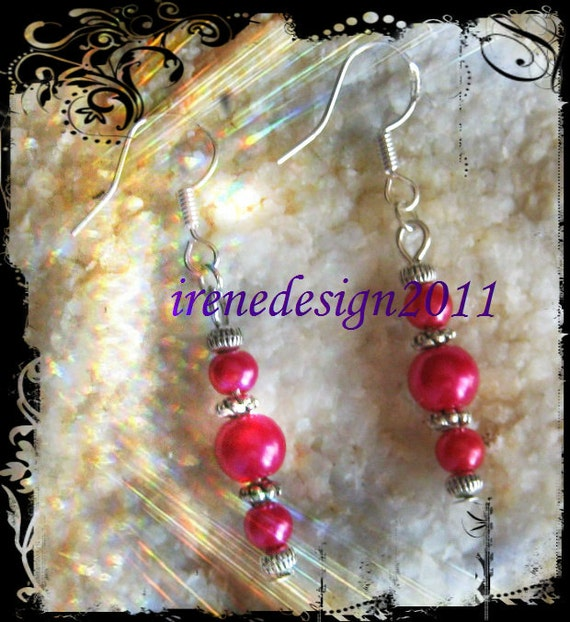 Handmade Silver hook Earrings with Pink Pearls by IreneDesign2011
