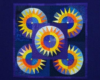 PHOENIX RISING Wall Quilt, 9/11 New York Beauty Block Pattern, Susanna Hotchkiss, Star Sunburst, Yellow, Orange, Blue, Purple, Free Shipping