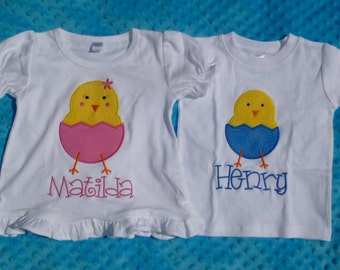 Personalized Easter Chick Egg Applique Shirt or Onesie Girl or Boy