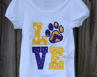 Personalized LOVE Paw Print Tigers Football Applique Shirt or Onesie
