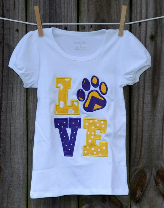 Personalized love paw print tigers football applique shirt or for Custom football shirt printing