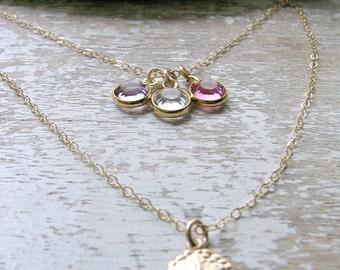Personalized Layered Birthstone Necklace 14k Gold Filled Sand dollar Necklace Swarovski Birthstone Necklace Sand Dollar Jewelry Birthstones