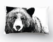 SALE 40%!!! Wildlife Bear Design, Black&White Decorative Pillow Cover, FREE SHIPPING!!!