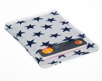 Credit card wallet - Minimalist wallet - Slim business card holder - White with Dark Blue Stars - Business card case - Men and Women
