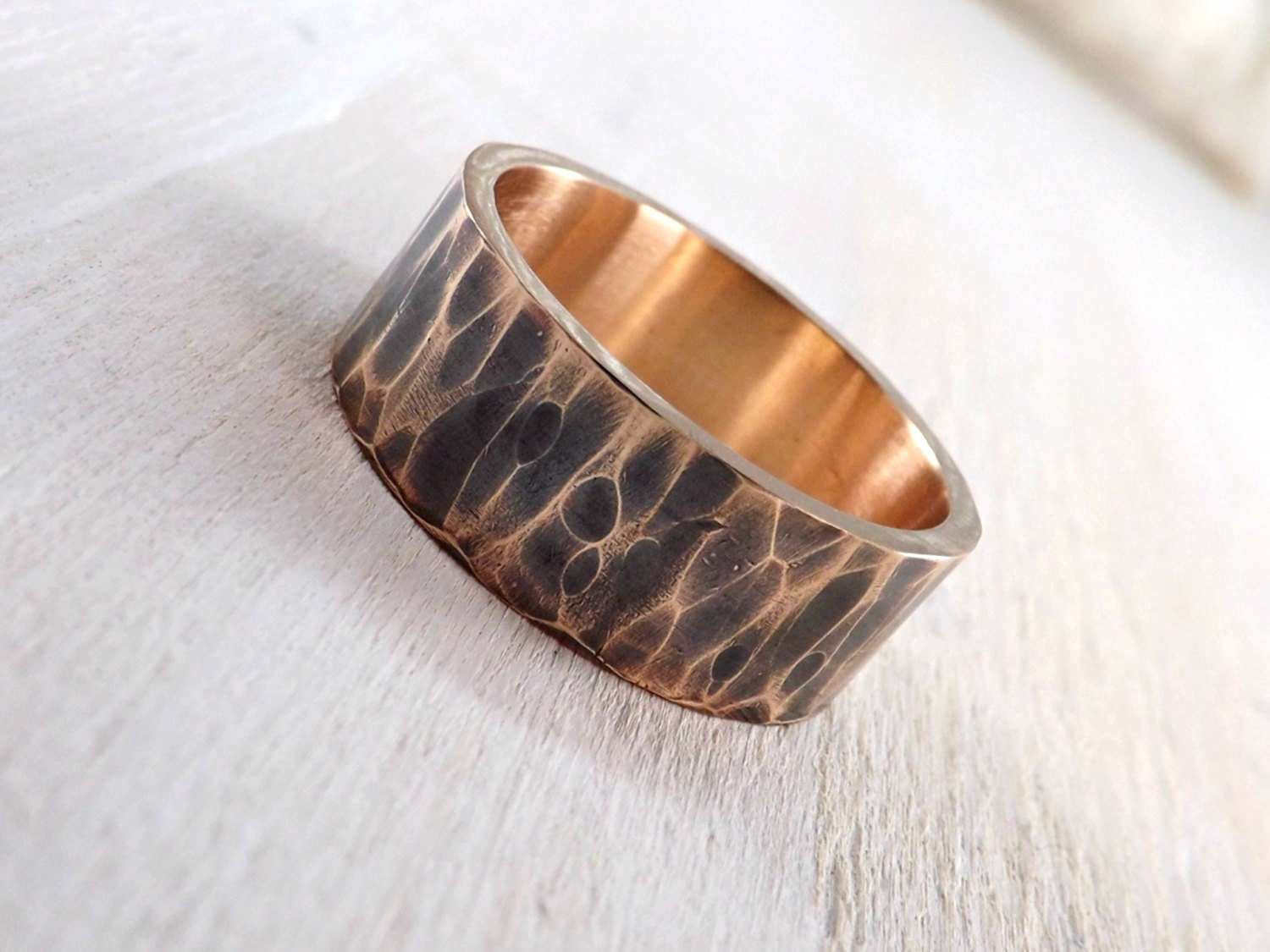 Mens Ring Bronze Hammered Bronze Ring Cool Mens Ring