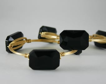 Black Crystal Wire Wrapped Gold Bangle