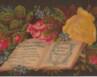 Demorests Monthly Magazine 1879 Trade Card Antique Advertising