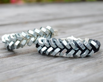Industrial Bracelet with Zinc Hex Nuts - Double, SIlver Hex Nut Bracelet, Silver Hardware Bracelet, Silver Braided Bracelet