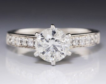 1.93ctw Round Diamond Prong Set Engagement Ring 14K White Gold w/ Accents