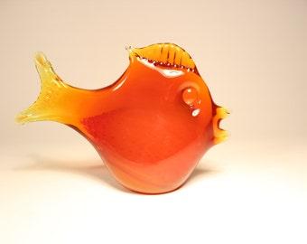 Red Glass Fish Bergdala Sweden