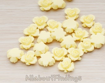CBC200-03-MY // Milk Yellow Colored Tiny Narcissus Flower Flat Back Cabochon, 6 Pc
