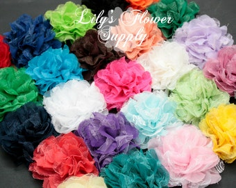 Ten Chiffon Lace Flowers - Shredded lace flower - Fabric Flowers - 3.75 Inch - Wholesale - Chiffon Flower Flower - DIY - You Choose Colors