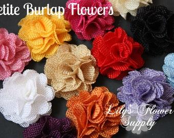 Petite Burlap Flowers - Choose Colors - Burlap Flower - 2 Inches - Fabric Flower - Burlap Rose - Rolled flowers - Wholesale - supply