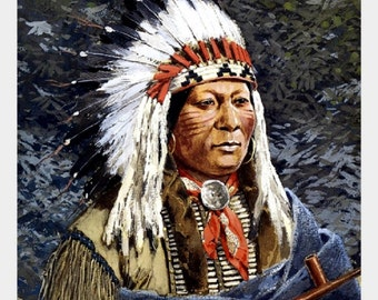 "Sioux Chief, 1897, Henry Farney, Western, Native American, Cowboy  11x14"" Cotton Canvas Print"