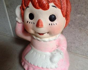 "1960-70s Raggedy Ann Bank.  Made n Taiwan.  5 1/2"". Savings bank dolls,"