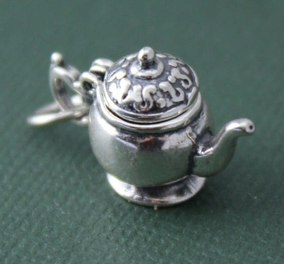 closeout sterling silver large teapot openable charm