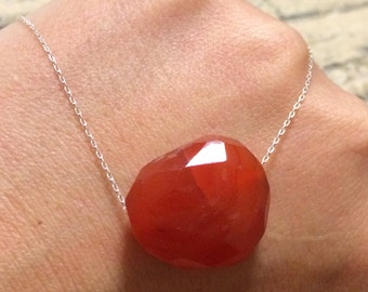 Sterling silver Carnelian  Nugget slide Bar necklace.