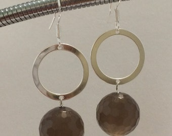 Sterling Silver Grey Agate  drop Earrings.