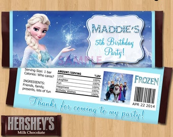 Frozen Candy Bar Wrappers - Disney Frozen Candy Wrapper  - Frozen Party Favor - Birthday Printable matches Invitation Elsa Anna Olaf Ideas