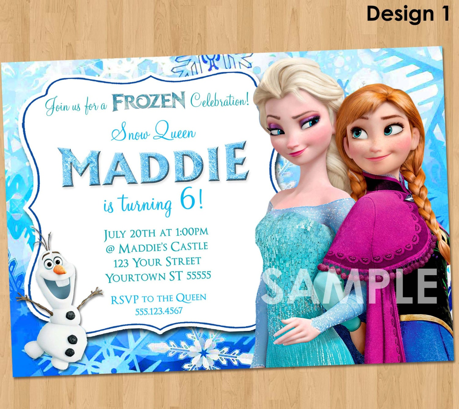 Frozen Invitation Frozen Birthday Invitation Disney Frozen – Personalized Disney Birthday Invitations