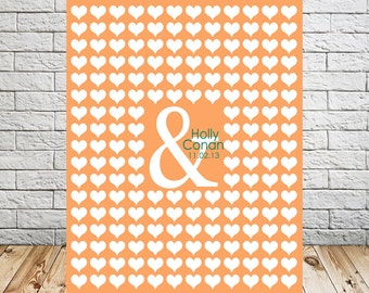Alternative Wedding Guestbook Poster, Ampersand Heart, Personalized Guest Book Wall Print, Wedding Guest Book, 175 - 200 Guests