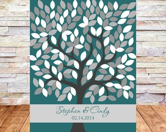 Guestbook Tree, Wedding Tree Guest Book Alternative, Wedding Signature Tree, Guestbook Poster, 16X20, 172 Leaves