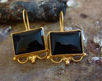 Onyx Hook Earrings Design by Ferimer 18k Yellow Gold Vermeil Over Sterling Silver