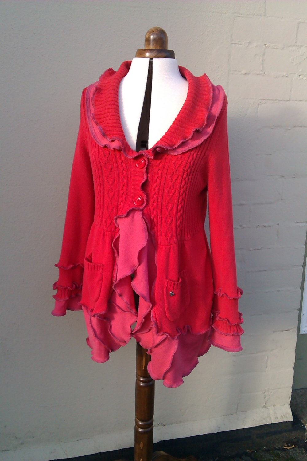REDUCED Upcycled sweater clothing. Red tatters cardigan