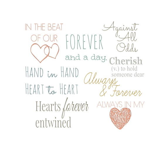 Love Quotes For Wedding Invitation: Items Similar To Vintage Wedding, Love Word Art Collection