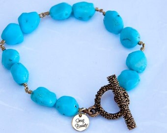Bubblegum Bracelet - turquoise nuggets and bronze