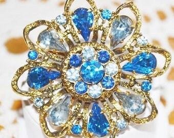 Vintage Blue Rhinestones Brooch