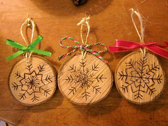 Items similar to Wood Burned Snowflake Christmas Ornaments ...