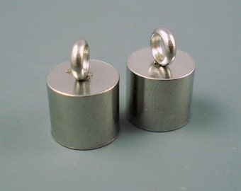 8MM Stainless Steel End Cap, TWO Pieces, Cap for Leather or Cord,  8mm Cap (SSC8-3)