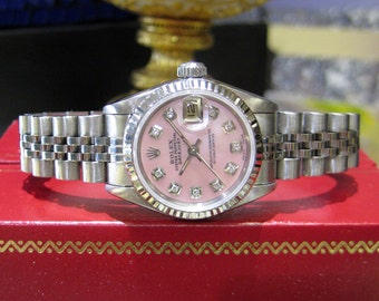 Ladies ROLEX Datejust Stainless White Gold Mother of Pearl Diamond Dial Watch