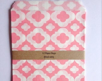 Pink patterned paper bags