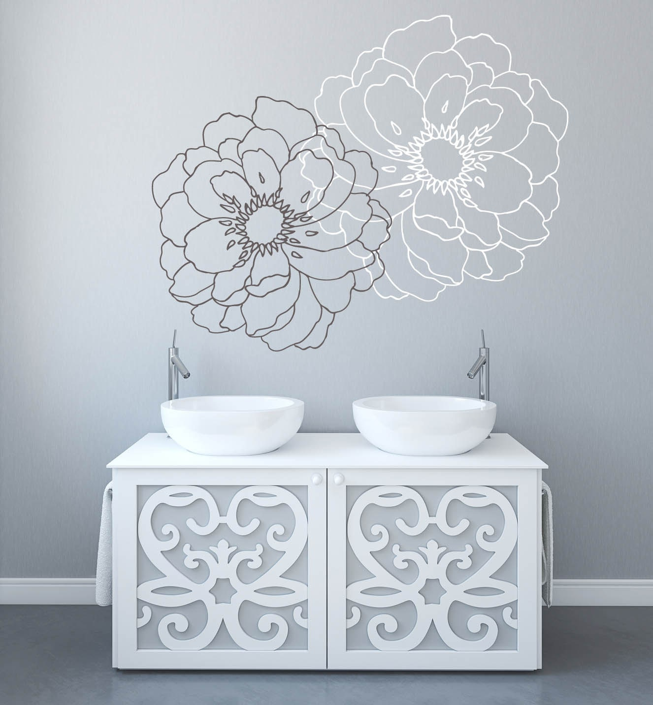 Modern Wall Decor Decals : Modern flower wall decals for walls stickers