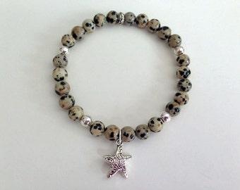 Dalmation Jasper Bracelet Starfish Beach Dogs