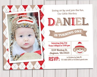 SOCK MONKEY INVITATION, sock monkey invite, Printable boy Birthday Party, Custom photo, First birthday invitation, Photo invitation
