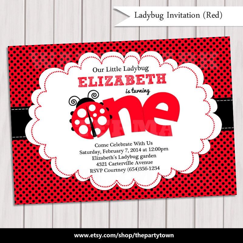 Ladybug Invitation / Ladybug Invite / Cute Ladybug Invitation