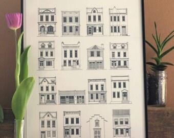 Wall Art Print of Richmond Virginia Fan Row Houses, Richmond Houses, Historic Row Houses, Architectural Print, Row Houses, Richmond VA Print