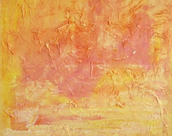 Large Abstract Painting, Wall Art, Original, Orange Yellow Pink, Home Decor, Acrylic Canvas, Textured, Modern, Contemporary, PEACH SUN