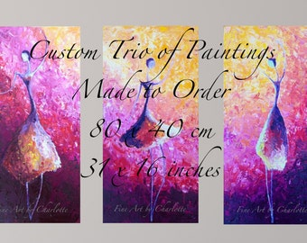 Custom Trio of Paintings, Made to Order, 80x40 cm, 31x16 inches, Three Original Triptych Modern Abstract Home Interior Decor FREE SHIPPING