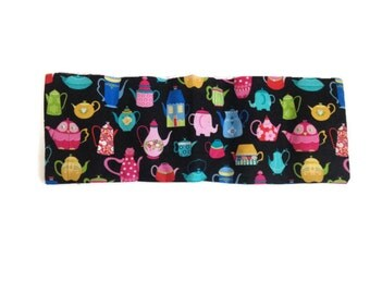 Microwaveable Flax Seed Heating Pad with Bright Whimsical Teapots