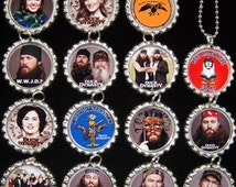 DUCK DYNASTY - Set of 15 - Bottle Cap Necklaces For Birthday Gifts, Birthday Favors, Party Favors A1