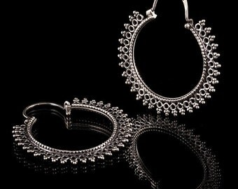 Silver Mandala Hoop Earrings, Silver tribal earrings,Tribal jewelry, Mandala earrings, Mandala jewelry (code 89)