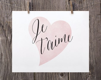 5x7 Je t'aime Print, Black and Pink Heart Printable Art, French Nursery Decor, Pink Girls Room Decor, I Love You Print, Anniversary Gift