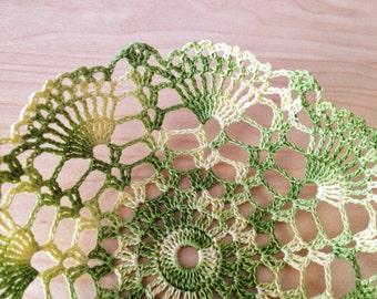 Golden green crochet bowl