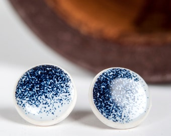 Deep Blue Stud Earings For Date Night, Round Earings, Post Earings, Elegant Earings, Blue Earings, Everyday Jewelry, Simple Earing