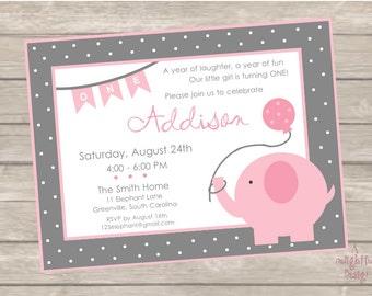 Pink and Gray Elephant Birthday Invitation